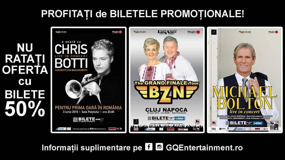 De la 1 Mai BILETELE pentru concertele CHRIS BOTTI, BZN & MICHAEL BOLTON nu vor mai beneficia de discount-ul de 50%